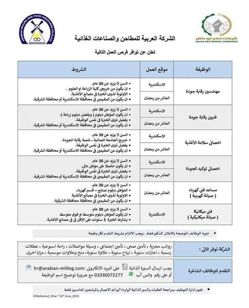 اعلان وظائف الشركة العربية للمطاحن والصناعات الغذائية للمؤهلات العليا والدبلومات بالمحافظات