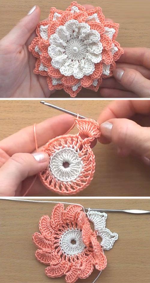 Easy Crochet 3D Flower - Tutorial