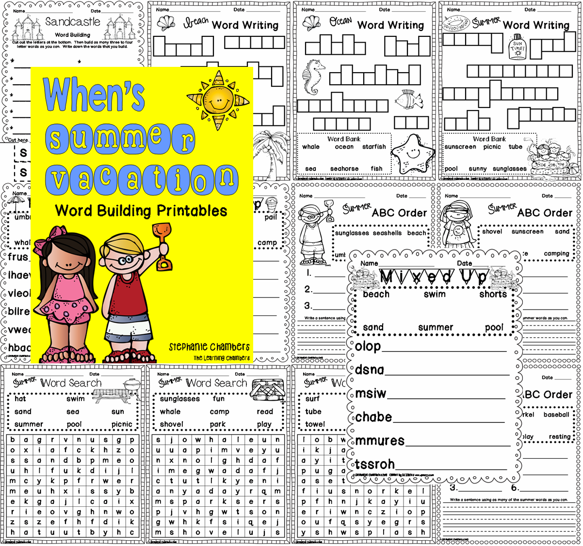http://www.teacherspayteachers.com/Product/Whens-Summer-Vacation-Word-Work-Printables-692340