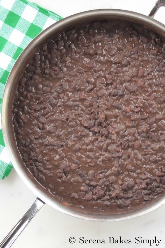 Refried Black Beans recipe made from Serena Bakes Simply From Scratch. A must make for Cinco De Mayo.
