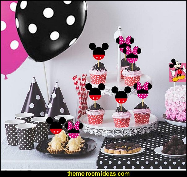 Mickey Minnie Mouse Cupcake Toppers Kids Birthday Party Cake Decoration Supplies mickey minnie party decorations