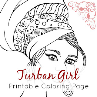 Turban Girl Printable Coloring Page