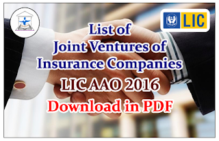 List of Joint Ventures of Insurance Companies- for LIC AAO 2016 Download in PDF