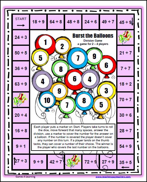 Division » Printable Division Games - Free Math Worksheets ...