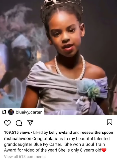 Blue Ivy, Daughter of Beyonce and Jay-Z Carter received the Soul Train Award for the second time.
