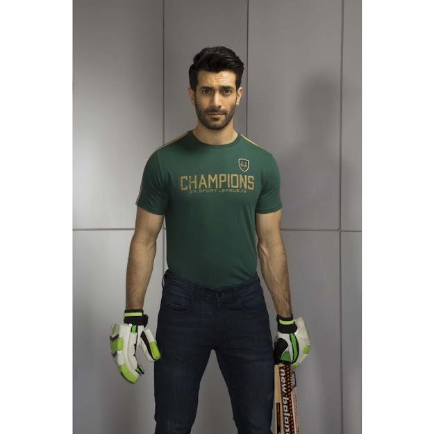 Gul Ahmed Green urban T Shirt cricket collection
