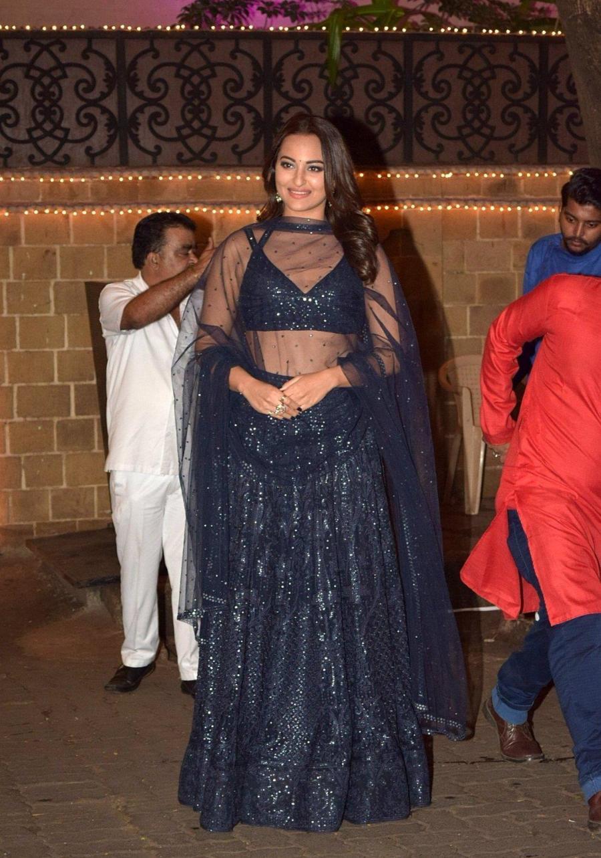 Indian Actress Sonakshi Sinha At Anil Kapoor's Diwali Party In Mumbai