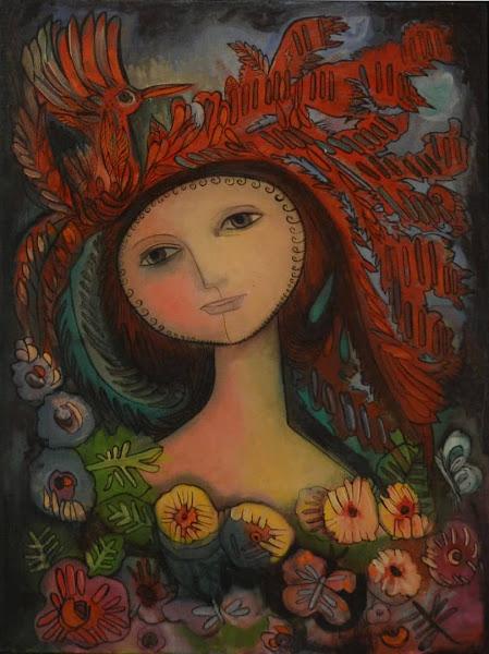 Mujer y pájaro rojo, Clara Ledesma, 1982