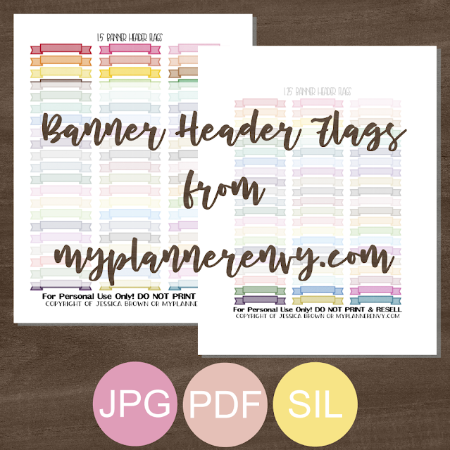 "Free Printable 1.25"" & 1.5"" Banner Header Flags from myplannerenvy.com"