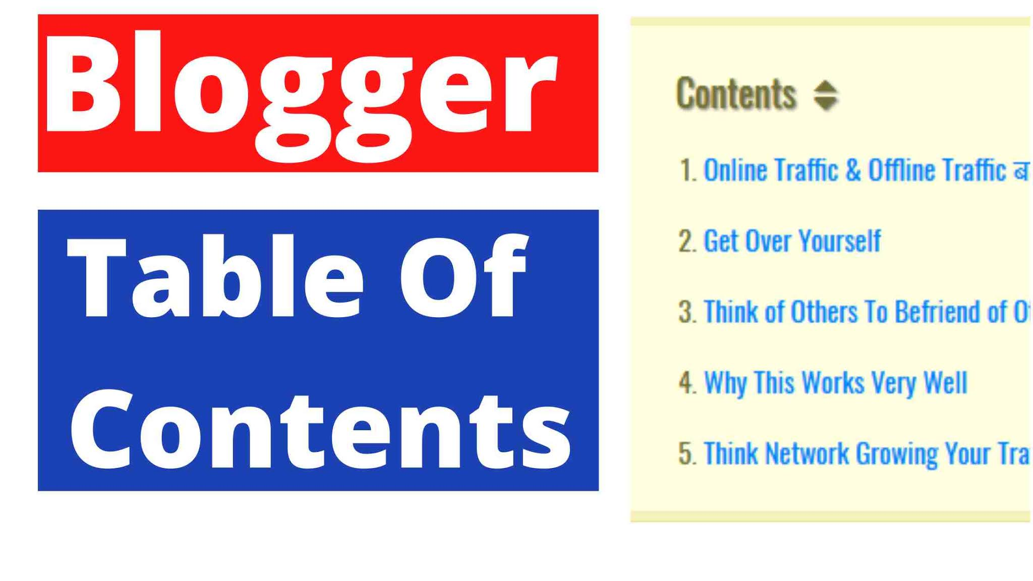 Blogger Table Of Contents Create