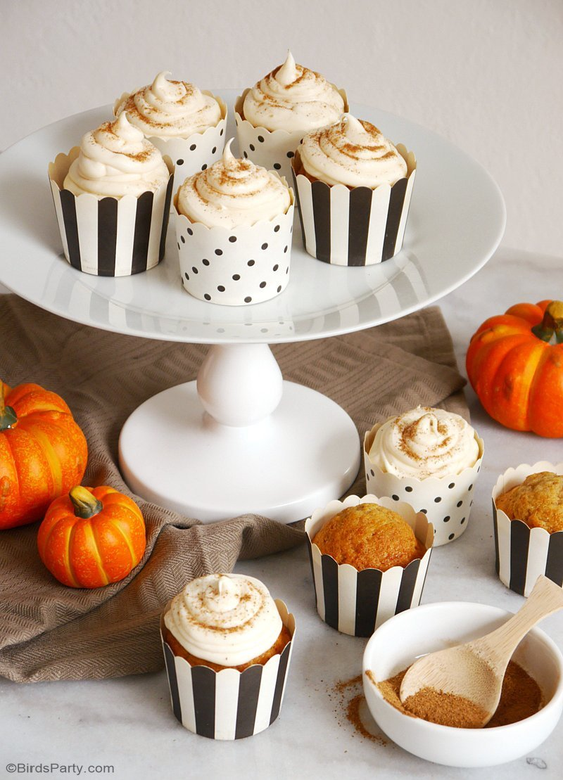 Pumpkin Spice Cupcakes & Easiest Cream Cheese Frosting EVER! - learn to bake these delicious Fall treats for a party or dessert course! by BirdsParty.com @birdsparty
