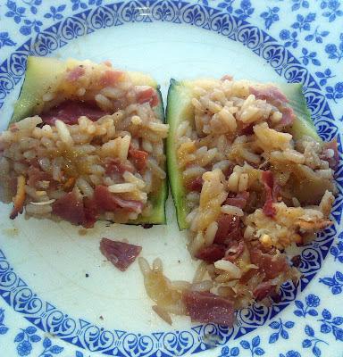 La Cocinera Novata calabacines rellenos de arroz y jamon receta cocina bajo en calorias light verduras tupperware