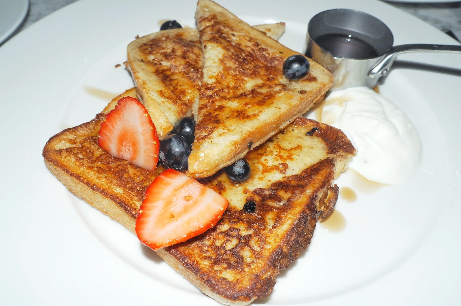 Strawberry and blueberry French toast at Dalloway Terrace