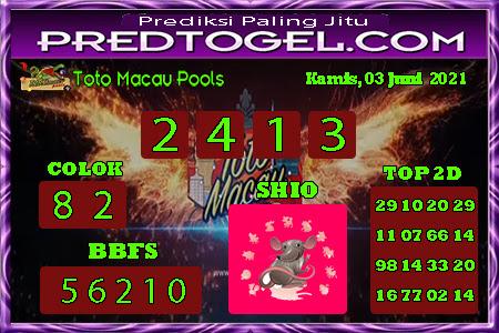 Pred Macau kamis 03 juni 2021
