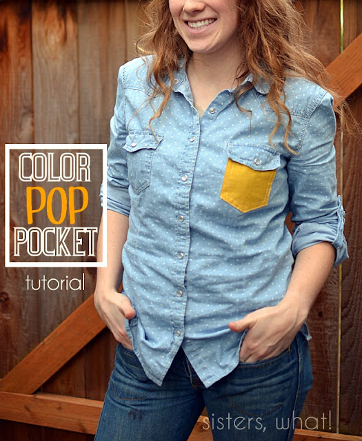 diy color pocket to denim shirt refashion sewing tutorial