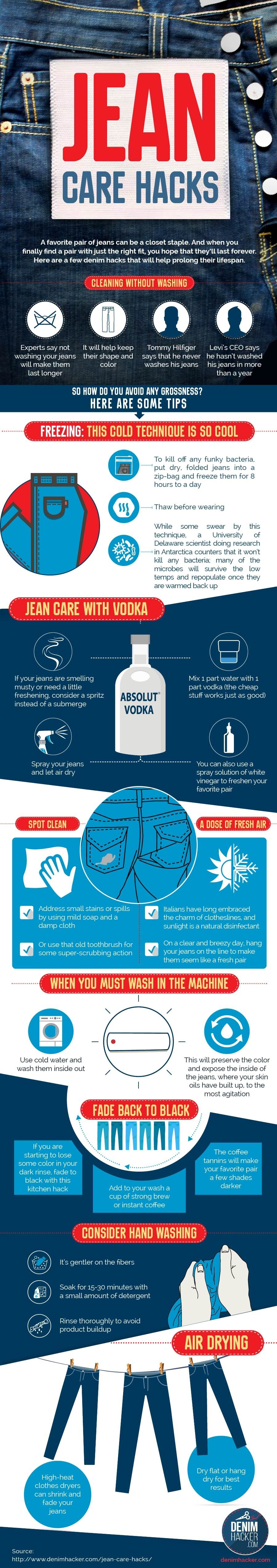 Jean Care Hacks A DIY Approach to Making Your Favorite Jeans Last #infograohic