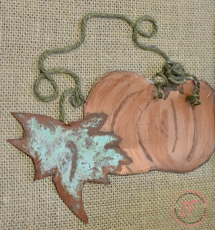 How to make unique burlap and oxidized copper sheet metal pumpkin art for Fall with a recycled thrift store picture frame and copper metal effects kit.