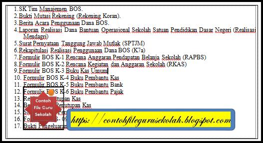 Kelengkapan LPJ BOS Jenjang SD