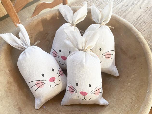 bowl of 4 bunny pillows