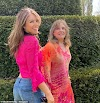 Elizabeth Hurley, 54, wears a tiny pink cropped shirt as she poses with mother Angela to celebrate her 80th birthday in lockdown