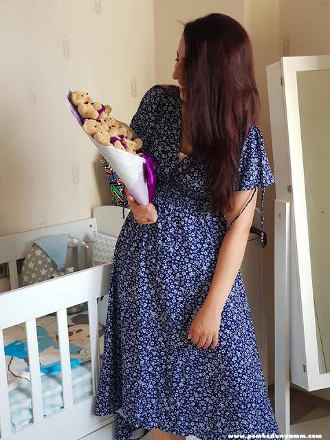 çiçekli asimetrik elbise
