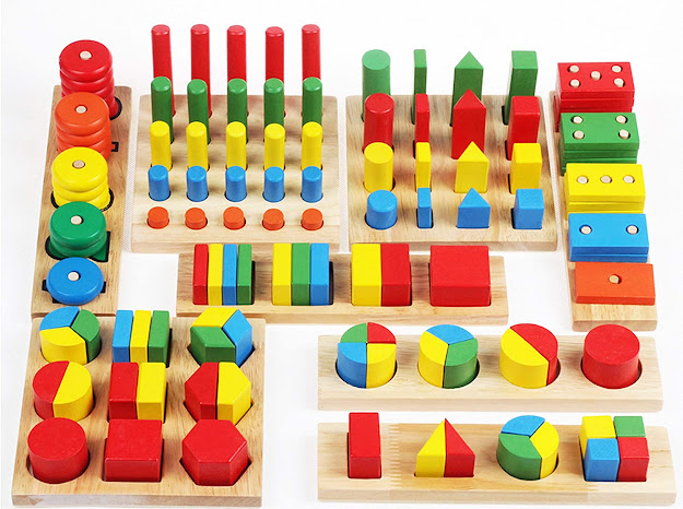 Wooden Geometric Shapes Stacking Rings and Fractions Boards 8 in 1 Set Puzzles