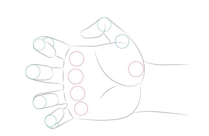 Menggambar sendi tangan