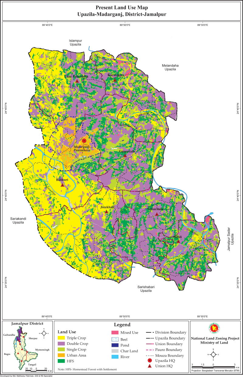 Madarganj Upazila Mouza Map Jamalpur District Bangladesh