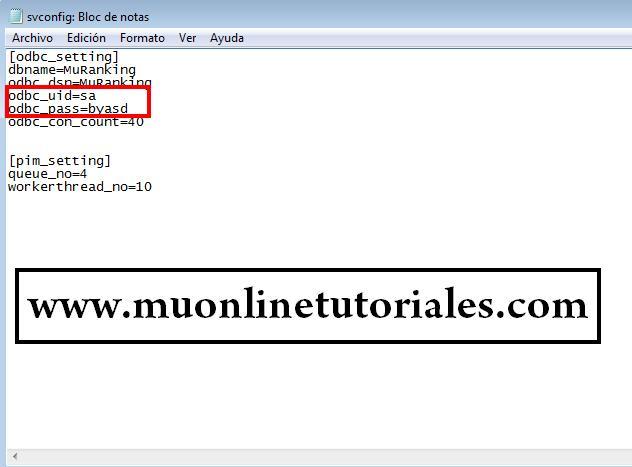 Usuario y password sql en el archivo svconfig