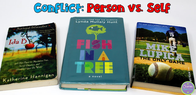 Person vs. Self Book Examples- This blog post contains a conflict anchor chart, as well!