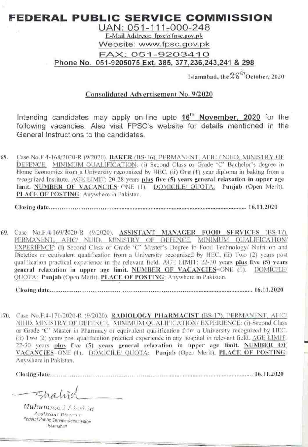 FPSC Jobs November 2020 – Advertisement No 09/2020