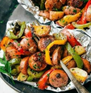 Foil Pack Italian Sausage and Veggies