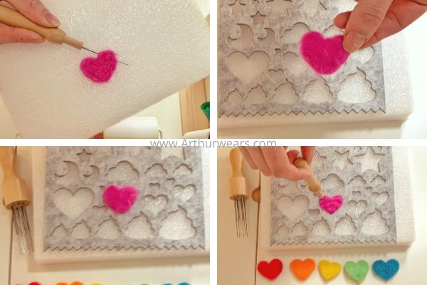step by step to make needle felted hearts turning the heart over after needling