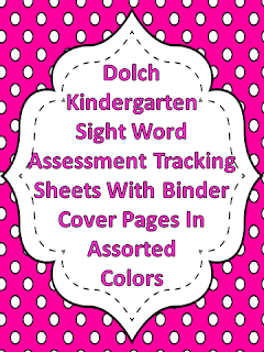 Dolch Kindergarten Sight Word Assessment Tracking Binder