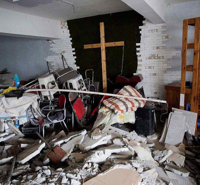 Igreja demolida em Zhengzhou, na central província de Henan, 3 de junho de 2018