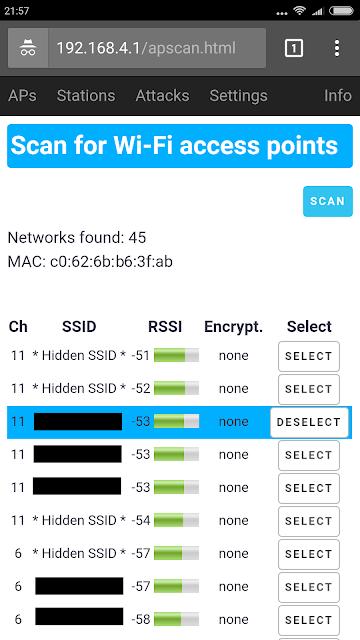 Selezione della rete Wi-Fi da testare