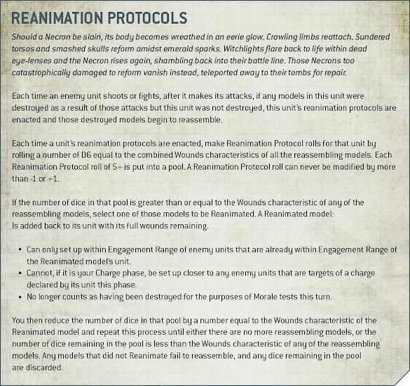 protocolos reanimación necrones