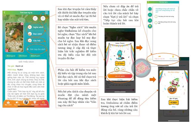 Hướng dẫn chức năng đọc sách trong tài khoản của bé trong Umbalena