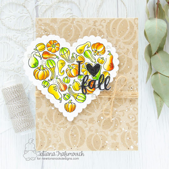 I Heart Fall Thank Card by Tatiana Trafimovich | Heartfelt Gourds Stamp Set, Heart Frames Die Set, Fall Friends Die Set and Pumpkin Patch Stencil by Newton's Nook Designs #newtonsnook