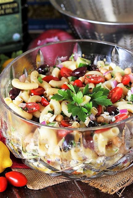 Bowl of Greek Macaroni Salad Image