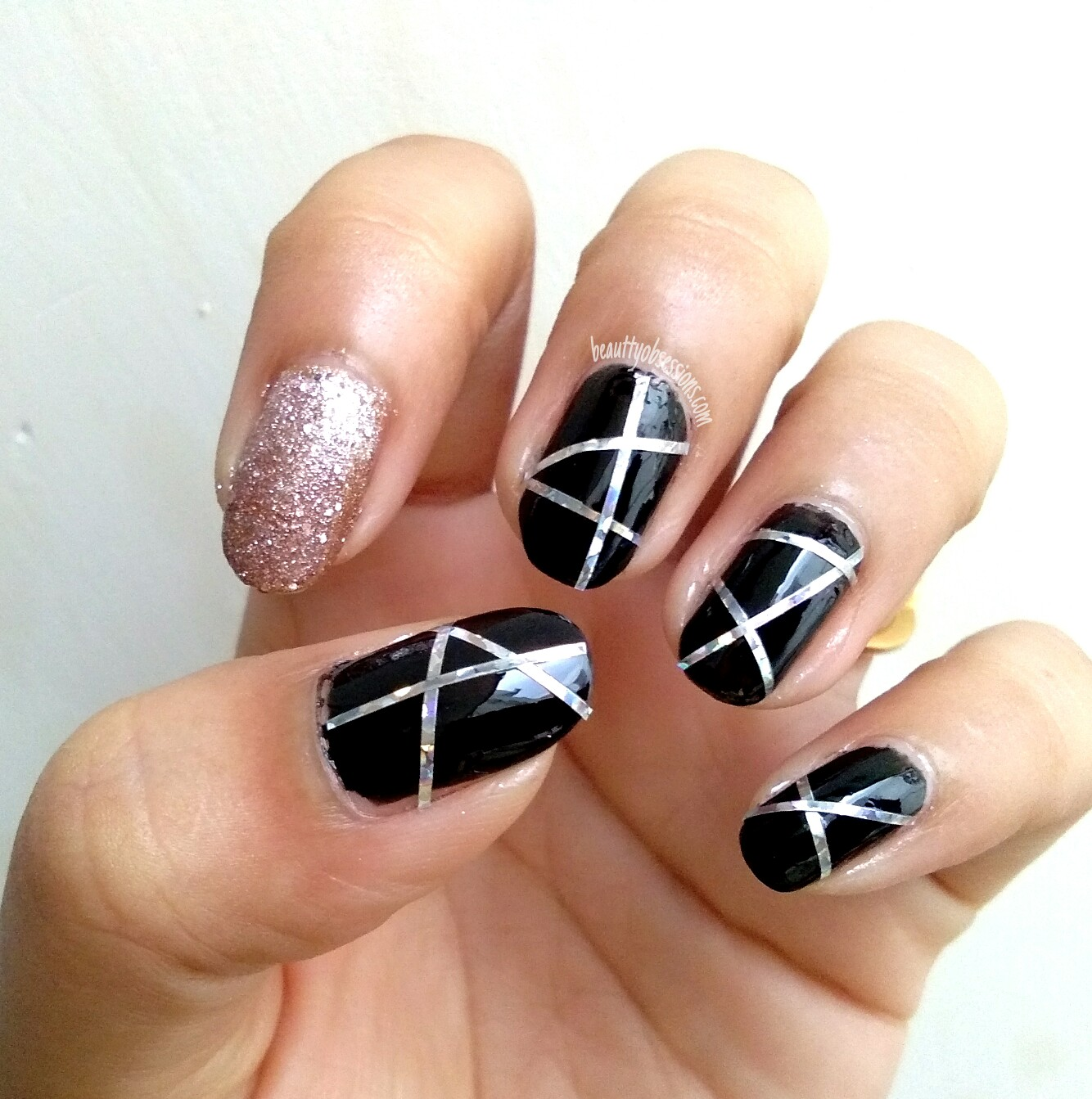 Step By Step Nail Art Using Tape: Two Easy Party Nails Ideas Using Nail Striping Tape