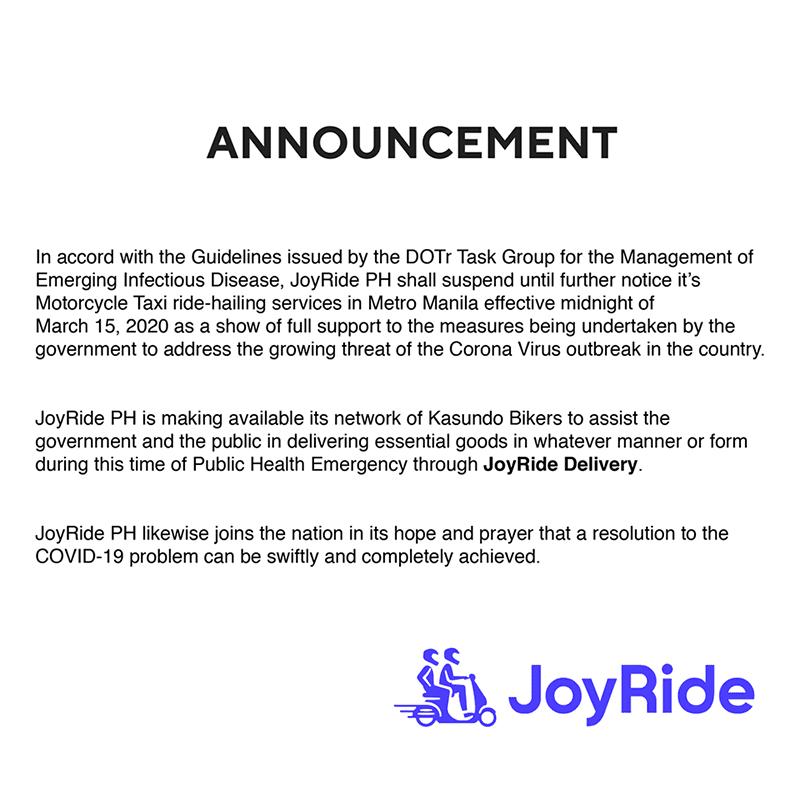 JoyRide official statement