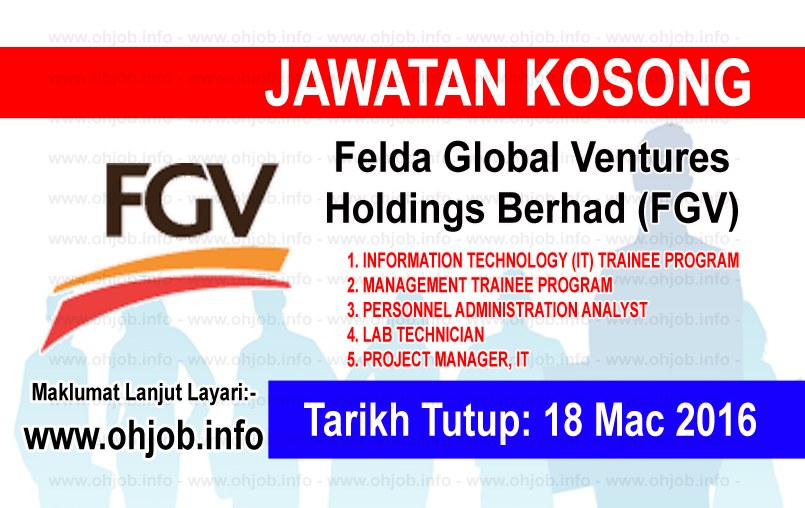 Jawatan Kerja Kosong Felda Global Ventures Holdings Berhad (FGV) logo www.ohjob.info mac 2016