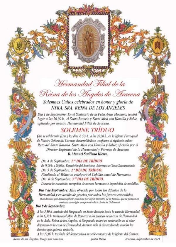 Cultos en honor y gloria a la Reina de los Ángeles de Aracena 2021