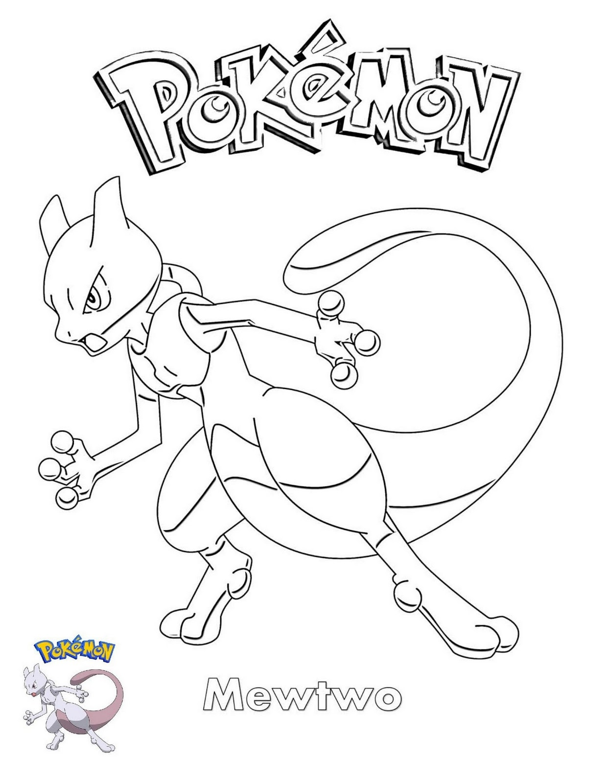 Mewtwo Coloring Pages Printable - Free Pokemon Coloring Pages