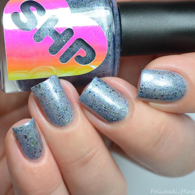 blue holographic blue shimmer nail polish