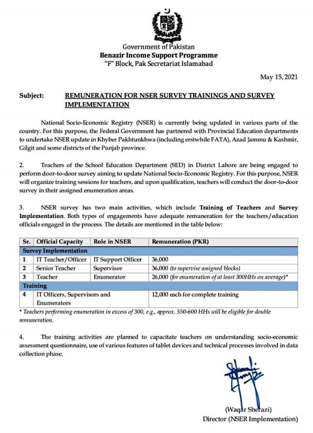 REMUNERATION FOR NSER SURVEY TRAININGS AND SURVEY IMPLEMENTATION