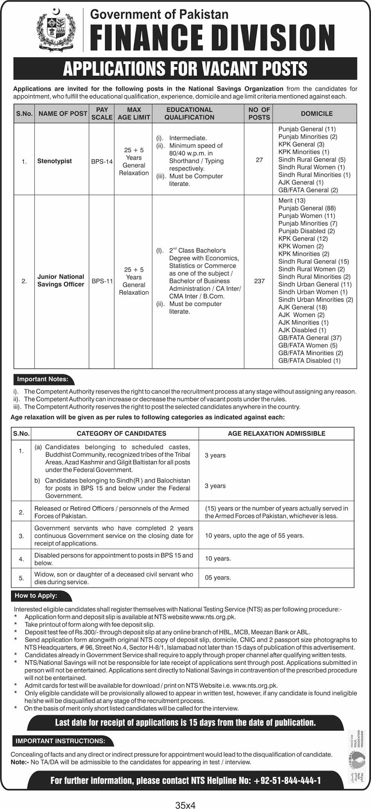 264 Jobs for Central Directorate Of National Savings (Finance Division) Islamabad 2020
