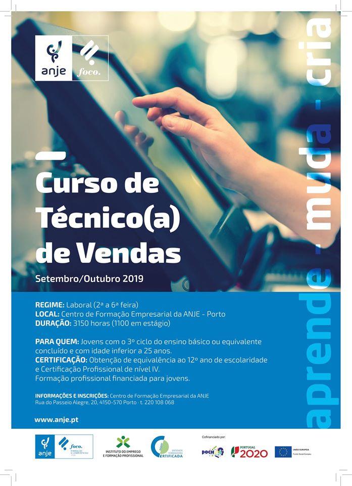 Curso financiado de Técnico de Vendas no Porto (com estágio)