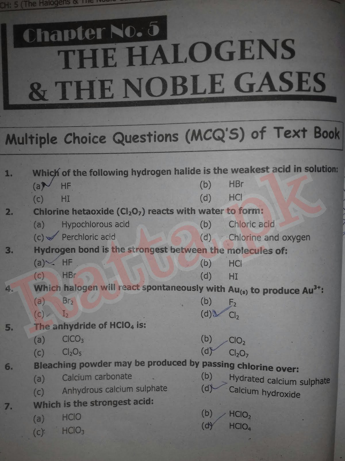 FSc 2nd Year Chemistry Chapter 5 MCQs